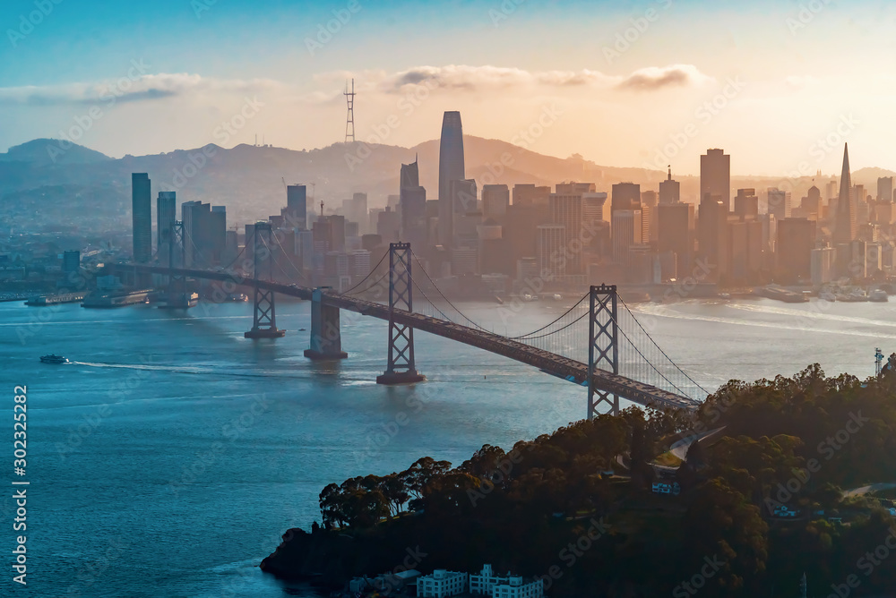 Fototapety, obrazy: Aerial view of the Bay Bridge in San Francisco, CA