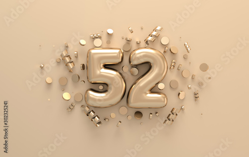 Fotomural Golden 3d number 52 with festive confetti and spiral ribbons