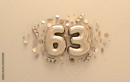 Fotografia  Golden 3d number 63 with festive confetti and spiral ribbons