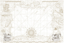 Vector Image Of An Old Sea Map In The Style Of Medieval Engravings