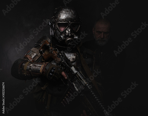 Concept of post - apocalypse war, middle aged man and his friend cyborg - warrior Wallpaper Mural