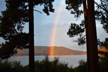 Rainbow Dips Into Lake In Earl...
