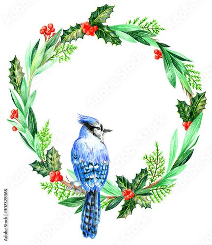 Canvas-taulu Christmas wreath blue jay on a branch