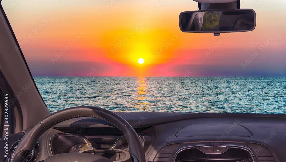 Fototapety, obrazy: Car windshield view of scenic sunset on the mediterranean sea