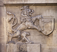 Coat Of Arms At Wall Of Old House At Market Square In Zagan. Poland