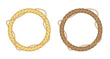Round Rope Borders Set. Circle Vintage Frames. Vector Design Elements.