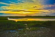 Bright Yellow Sunset Over Ravine
