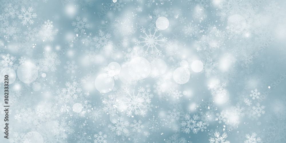 Fototapeta white bokeh blur background / Circle light on blue background / abstract light background