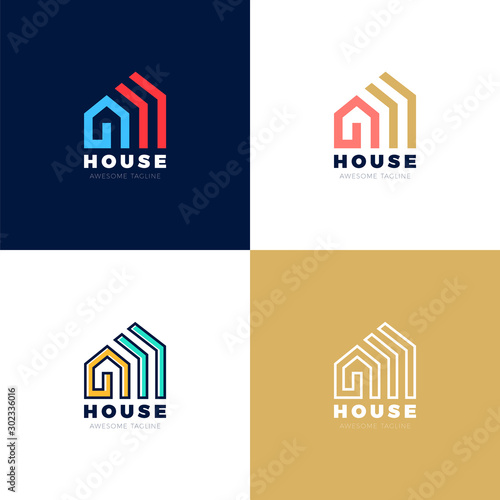 Abstract arrows Real estate house vector logo icon design template elements Canvas-taulu