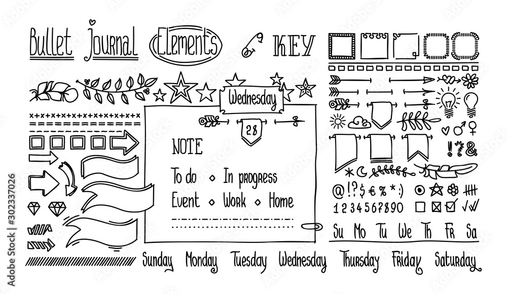 Fototapeta Bullet journal hand drawn elements for notebook, diary. Cute Hand drawn Doodle Banners isolated on white. Numbers and days of week: Sunday, Monday, Tuesday, Wednesday, Thursday, Friday, Saturday.