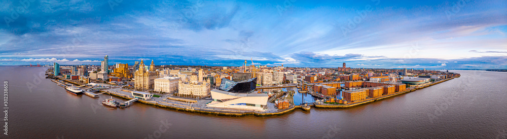 Fototapeta Panorama of Liverpool waterfront in the evening, Liverpool