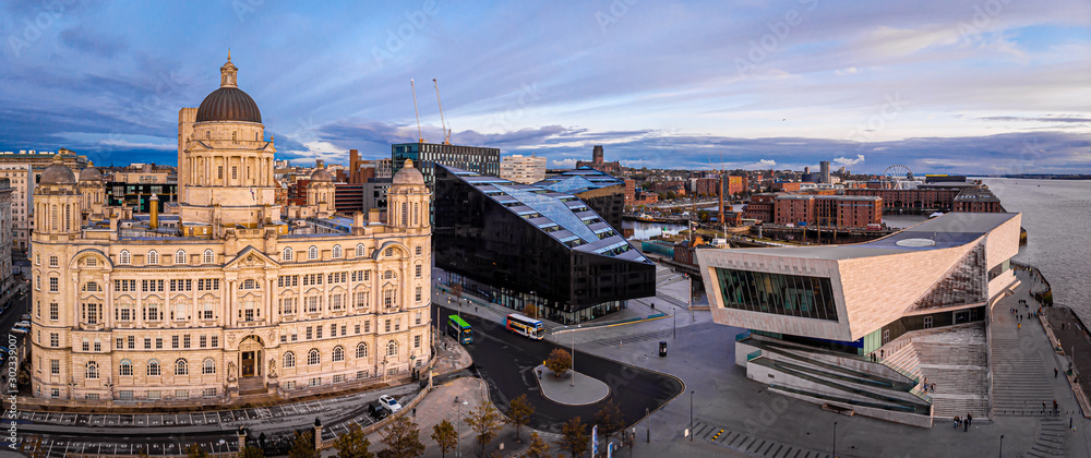 Fototapety, obrazy: Panorama of Liverpool waterfront in the evening, Liverpool