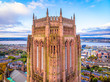 Leinwanddruck Bild - Aerial view of Liverpool Cathedral in the morning, UK