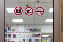 Prohibition Signs No Photo No Food And No Smoking. Stickers Shop Rules