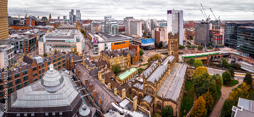 Aerial view of Manchester in the autumn, United Kingdom Canvas Print
