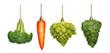 Leinwandbild Motiv Christmas ornaments in shape of vegetables, vegan concept