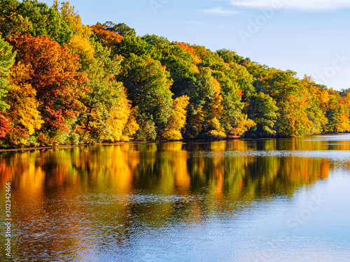 East coast autumn orange yellow red fall leaves lake reflections