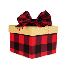 Red And Black Buffalo Plaid Christmas Gift Box With Lid And Bow. Side View Isolated On A White Background.