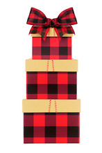 Stack Of Red And Black Buffalo Plaid Christmas Gift Boxes With Lid And Bow. Side View Isolated On A White Background.