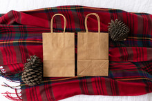 Plain Blank Brown Paper Bag (front And Back) On A Tartan Background With Pine Cones, Empty For Own Design - Winter Christmas Bag Mock Up - Styled Stock Photo