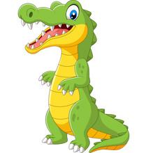 Cartoon Cute Crocodile Standin...