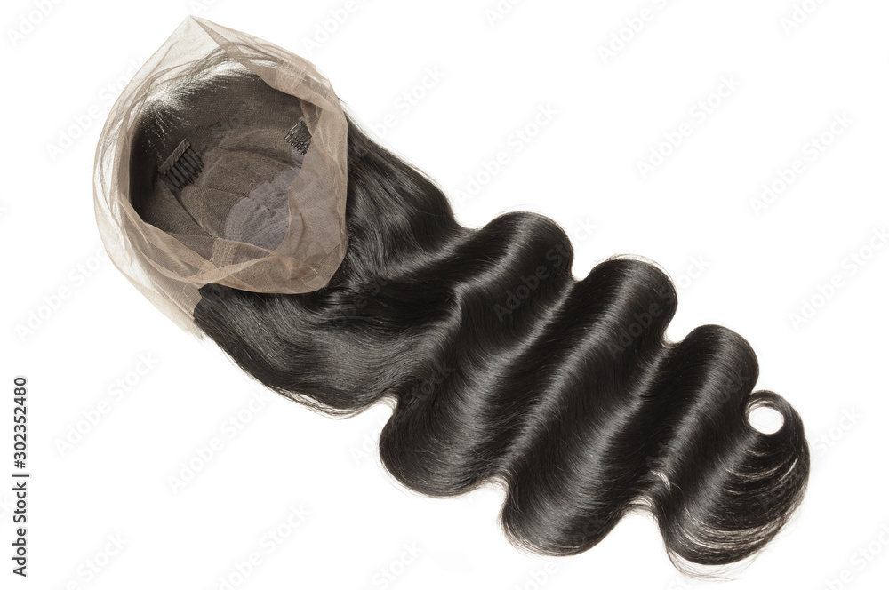 Fototapeta body wave wavy black human hair weaves extensions lace wigs