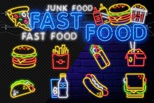 Food And Drink Neon Sign. Fast...