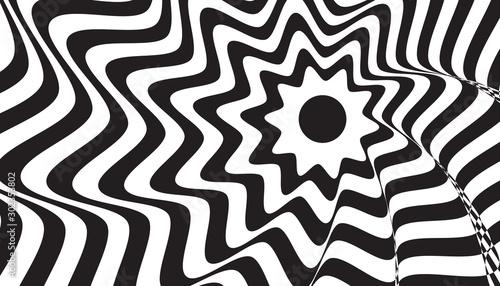 Fototapety, obrazy: Black flower stripes vector background. Abstract illustration wallpaper texture for website design and banner social media business advertising. Minimal style.