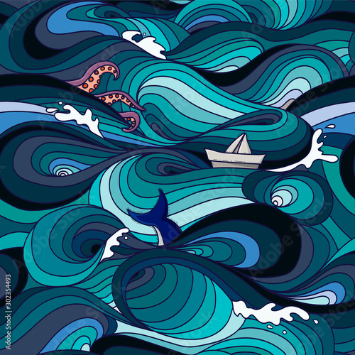 Tela sea pattern with waves, tentacles, paper boat and whale tail