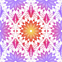Decorative Floral Ornament. Seamless Pattern. Vector Illustration. Tribal Ethnic Arabic, Indian, Motif. Print Cloth, Clothes, Banner, Cover, Card, Fashio, Interior, Website, Wrapper.