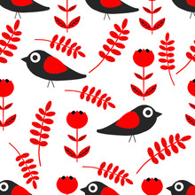 Seamless Bird And Flower Pattern. Folklore Pattern. Ornaments And Patterns Are Folk. On A White Background. Vector.