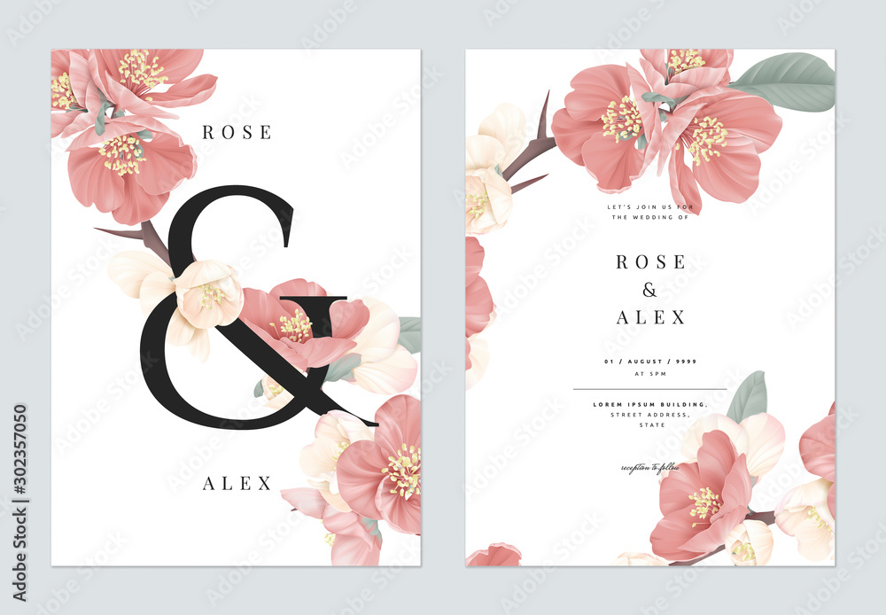 Fototapeta Floral wedding invitation card template design, pink Japanese quince flowers with ampersand lettering on white, pastel vintage theme