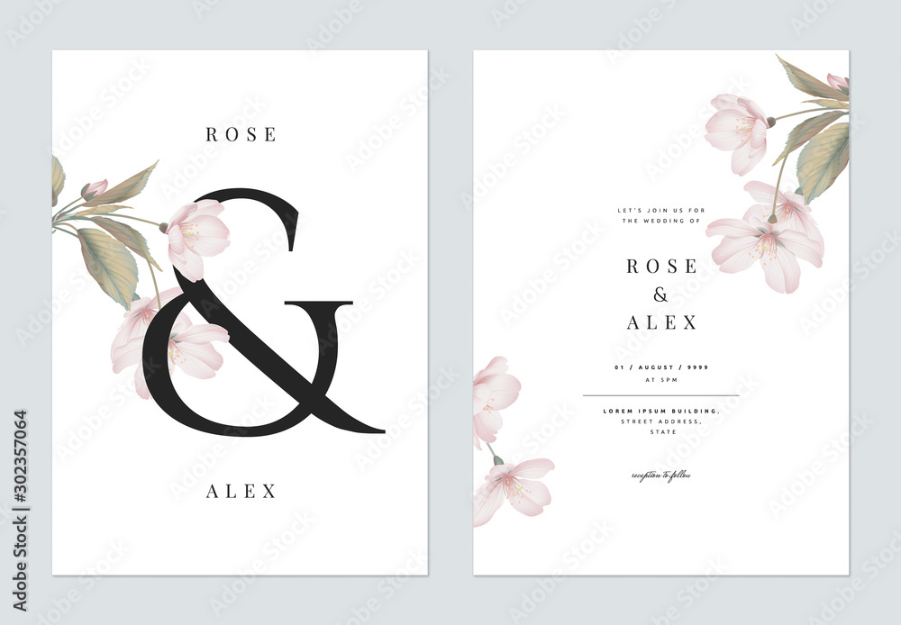 Fototapeta Floral wedding invitation card template design, Somei Yoshino sakura flowers with leaves with ampersand lettering on white, pastel vintage theme