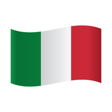 Isolated Italian Flag, Vector Illustration, Illustration Italy Flag Waving On White Background.