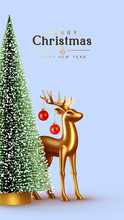 Christmas Lush Tree With Realistic Metallic Gold-colored Deer. Holiday Xmas Background. Festive With Decorative Objects, Pine And Spruce Tree, Gold Glass Reindeer, Red Balls Hang On The Horns.