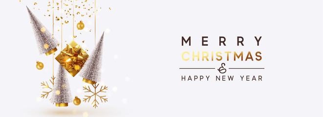 Christmas banner Background realistic festive gifts box. Christmas lush tree silver color. Xmas present. Horizontal New Year poster, greeting card, header for website. Gold and white decor ornaments