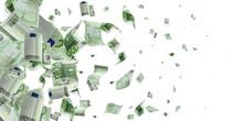 Euro Coin Falling Banknotes. European Money On White Isolation Background.