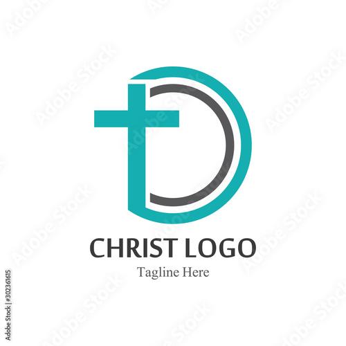 Christ logo template design vector, creative simple Canvas Print