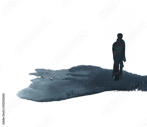 Obraz silhouette of a lonely man, man goes into the distance, illustration - fototapety do salonu