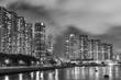 Seaside high rise residential building in Hong Kong city at night