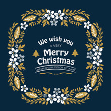 Beautiful Leaf Flower Frame, For Lettering Art Of Very Merry Christmas. Vector