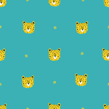 Seamless Pattern With Cute Leopards. Perfect For Kids Apparel, Fabric, Textile, Nursery Decoration, Wrapping Paper. Childish Vector Background.