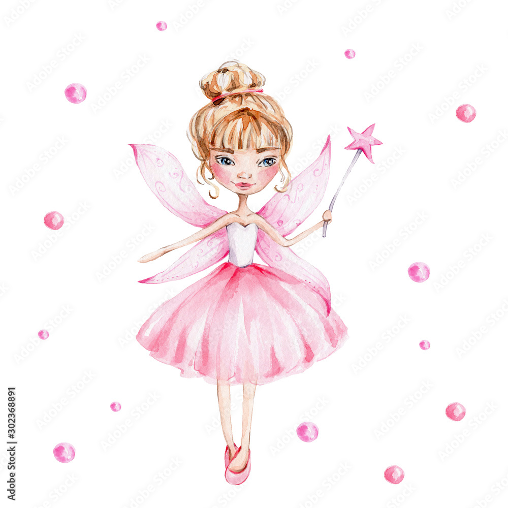 Fototapeta Cute cartoon fairy with magic wand and wings; watercolor hand draw illustration; with white isolated background