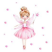 Cute Cartoon Fairy With Magic ...