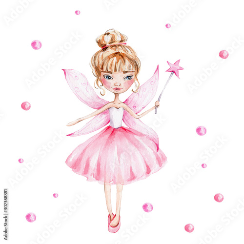 Fotografia Cute cartoon fairy with magic wand and wings; watercolor hand draw illustration;