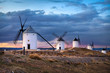 Leinwandbild Motiv Windmills of Consuegra on sunset, Castilla-La Mancha, Spain