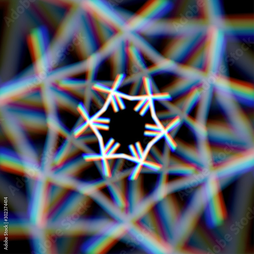 Fototapeta Blurred christmas snowflake sign with aberrations