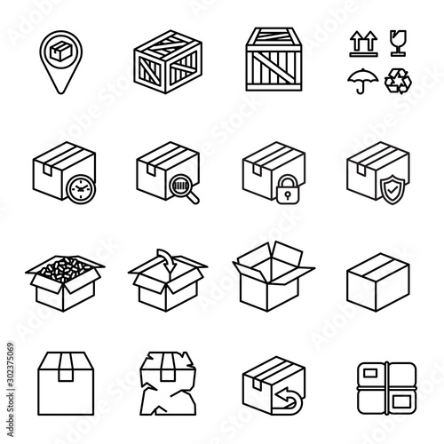 Box icon set with white background. Thin Line Style stock vector. Wall mural