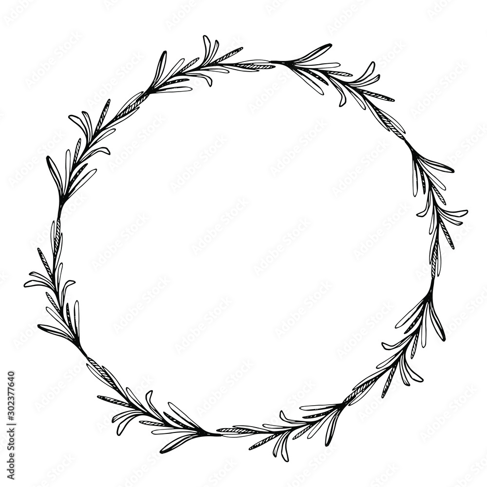 Fototapety, obrazy: Sketch wreath with rosemary. Doodle frame. Hand drawn botanical border