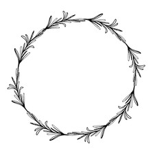 Sketch Wreath With Rosemary. Doodle Frame. Hand Drawn Botanical Border